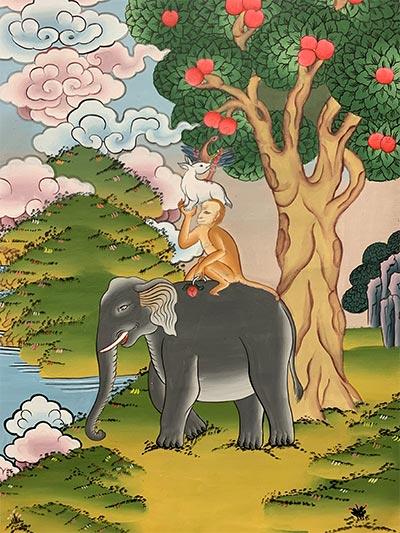 colorful painting with four animals: a gray elephant, brown monkey, white rabbit, hornbill bird.