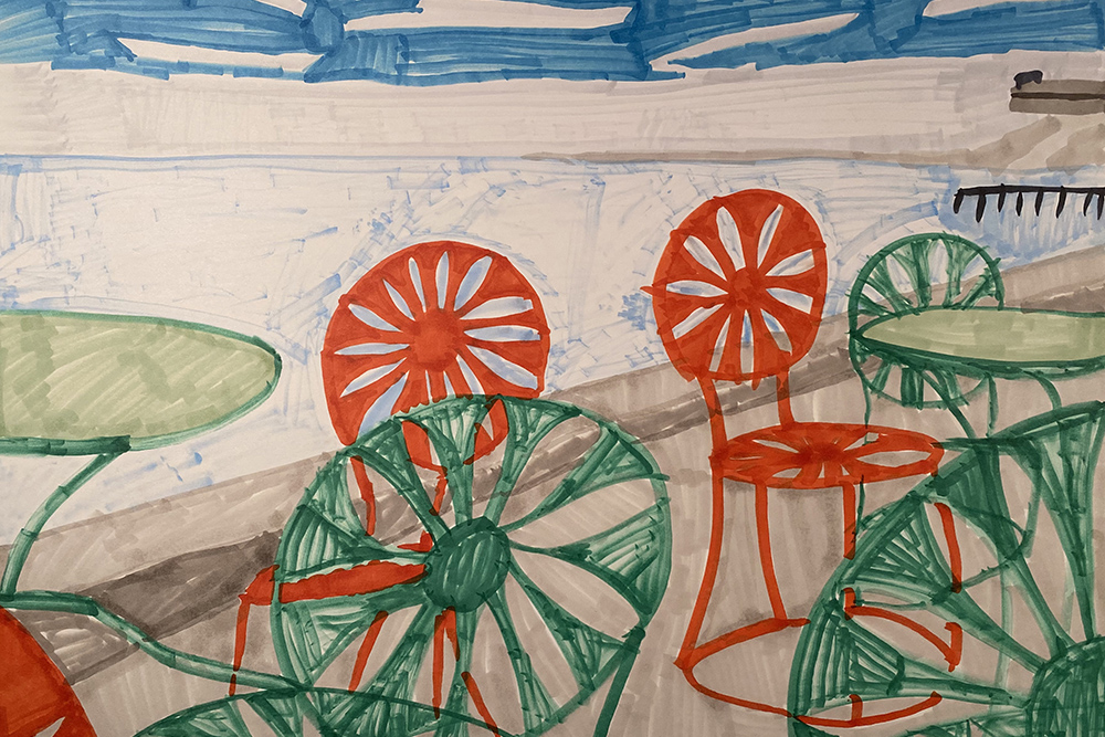 """""""Wisconsin Union,"""" a drawing by Devin Wildes showing empty cafe chairs during the COVID-19 pandemic."""