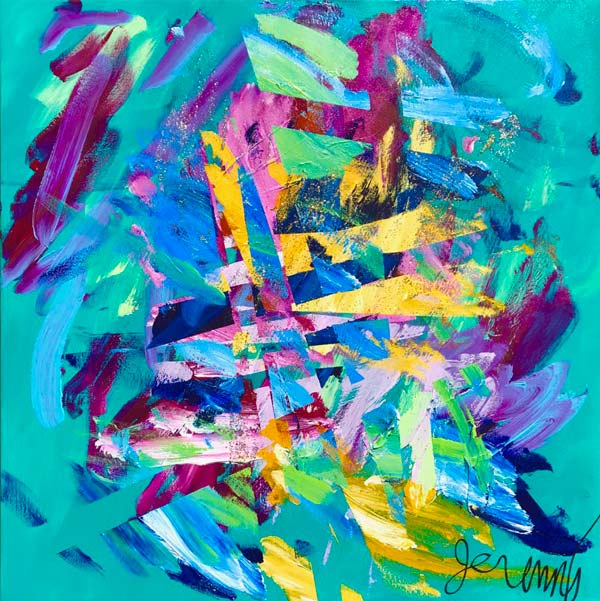 """An abstract painting featuring predominantly blues, pinks and purple colors, with splashes of yellow. The painting is signed """"Jeremy."""""""