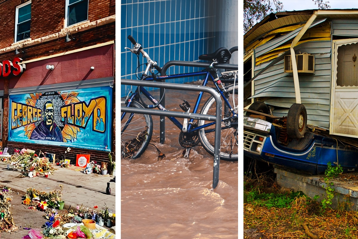 """A series of disaster photos, including a painted street art mural with the words """"George Floyd"""" and a picture of Mr. Floyd with smaller figures protesting and flames coming out from behind his name. Flowers litter the ground underneath. In another photo, a bicycle tied to a bike rack has flood waters splashing around it. A third photo shows a blue car upside down, with a crumbling house on top."""