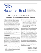 A Taxonomy for Postsecondary Education Programs for Students with Intellectual and Developmental Disabilities