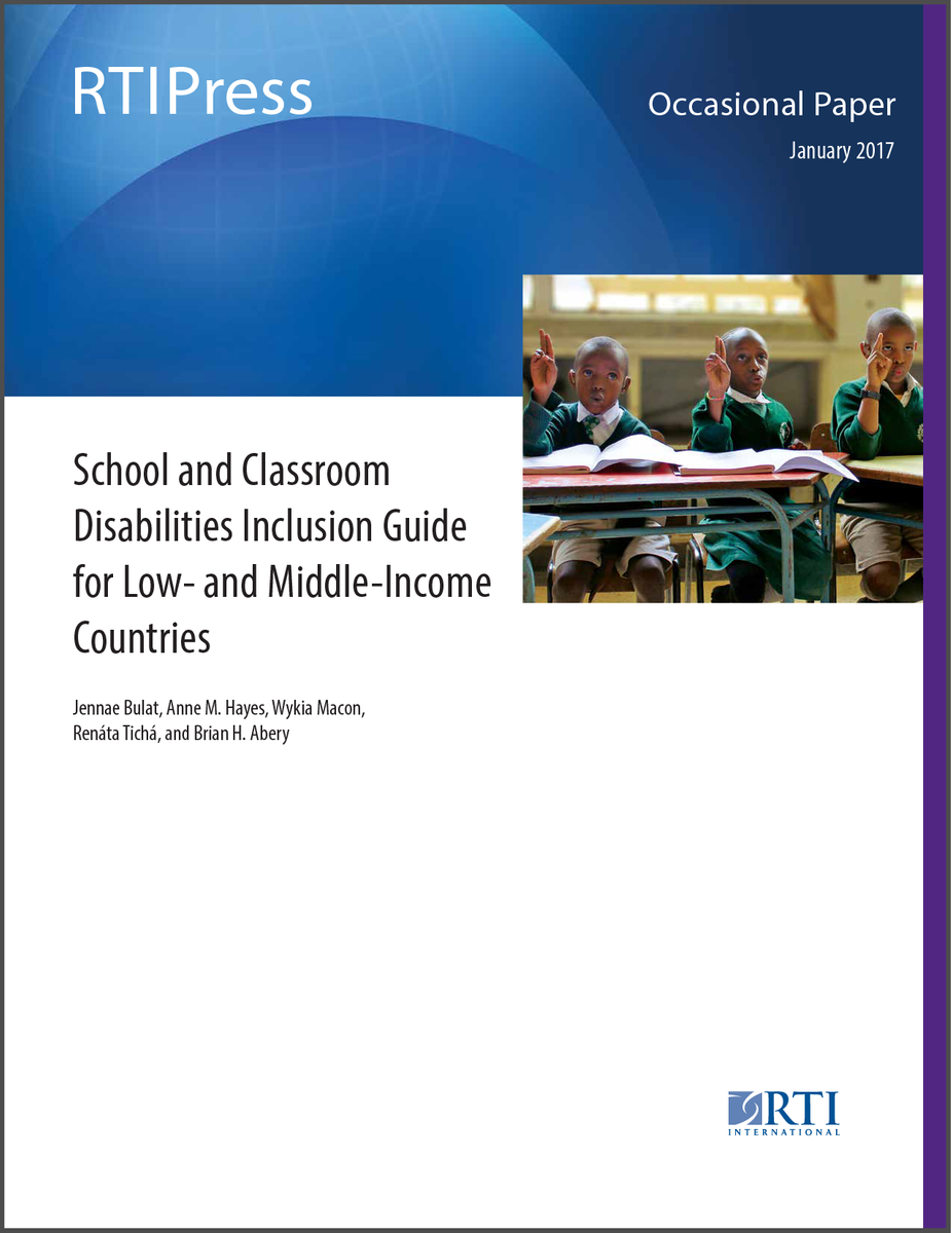 Occasional Paper cover. Image of elementry school classroom with three black students.