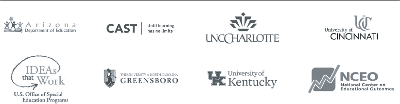 TIES TIPS partner organization logos: Arizona Dept. of Education, CAST, UNC Charlotte, NCEO, University of Kentucky, The University of North Carolina Greensboro, IDEAs that Work