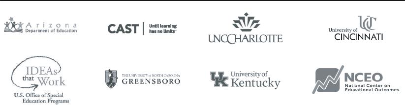 TIES TIPS partner organization logos: Arizona Dept. of Education, CAST, UNC Charlotte, NCEO, University of Kentucky, The University of North Carolina Greensboro, IDEAs that Work