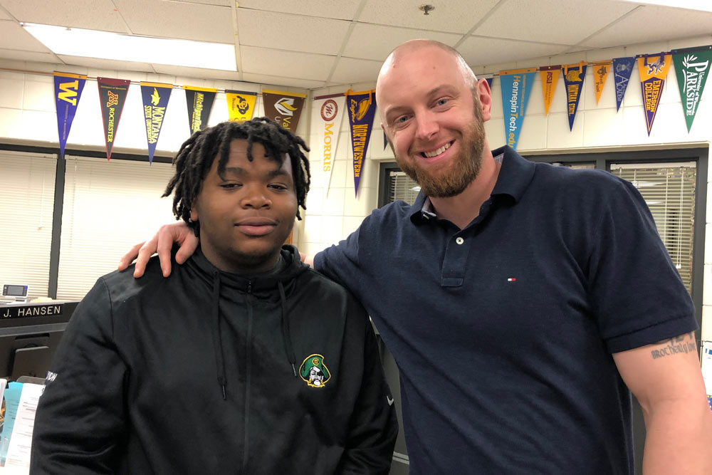 Kayvon Williams (left) with his Check & Connect mentor, Darren Nelson.