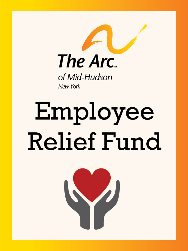 the arc of mid-hudson new york employee relief fund. Hands holding heart.