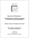 Responses to Working Paper 1 Conceptual Model of Educational Outcomes for Children and Youth with Disabilities (#3)