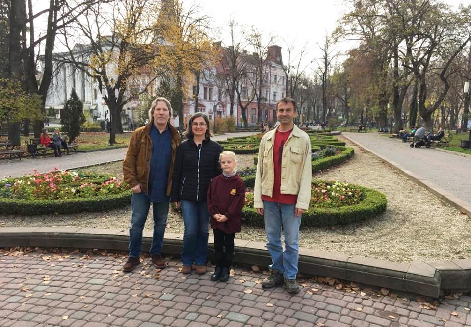 Left to right: Brian Abery, Renáta Tichá, Marta Sydoriv, and Sergiy Sydoriv. In 2018 in Ivano-Frankivsk, Ukraine.