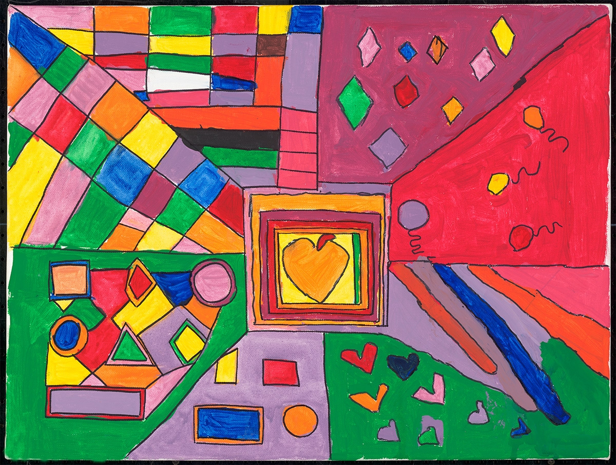 Photo of the painting Love is All Around by Stephanie Evelo. Painting is abstract and colorful.