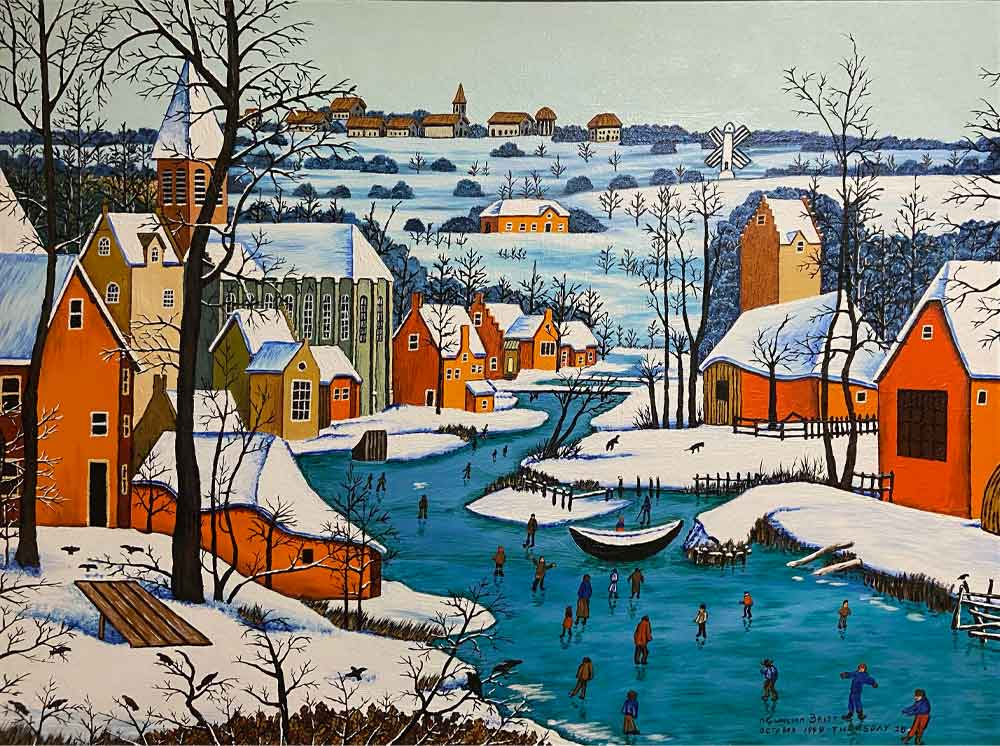 A painting featuring a winter scene with skaters on a winding river, brightly colored houses and a church.