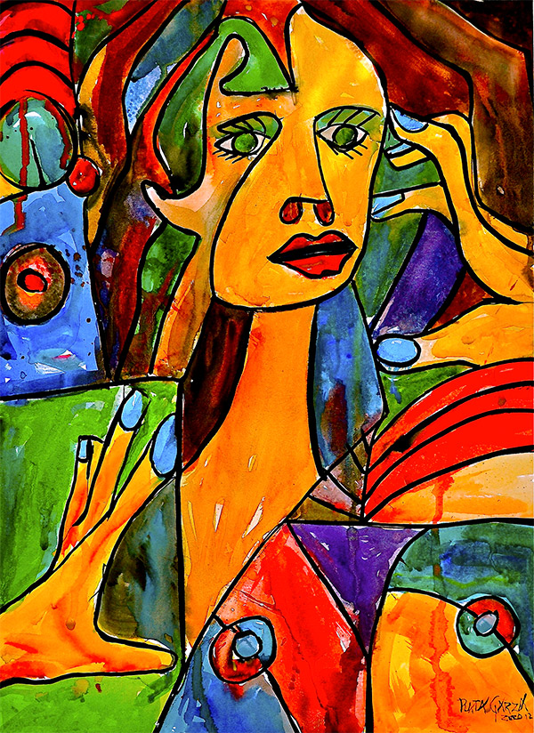 Abstract painting of a woman who looks worried. One hand is touching her face.