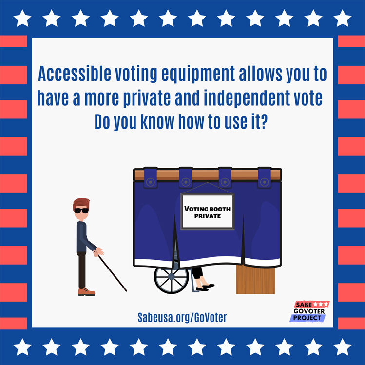 Two colorful graphics show people with disabilities at work and at the voting booth. One image shows a woman in a wheelchair in front of a bakery. The other shows an accessible voting booth revealing a woman's feet and the bottom of her wheelchair behind a curtain while a man with a cane and wearing dark glasses waits his turn to vote.