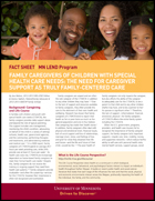 LEND Fact Sheet: Family Caregivers of Children with Special Health Care Needs: The Need for Caregiver Support as Truly Family-Centered Care