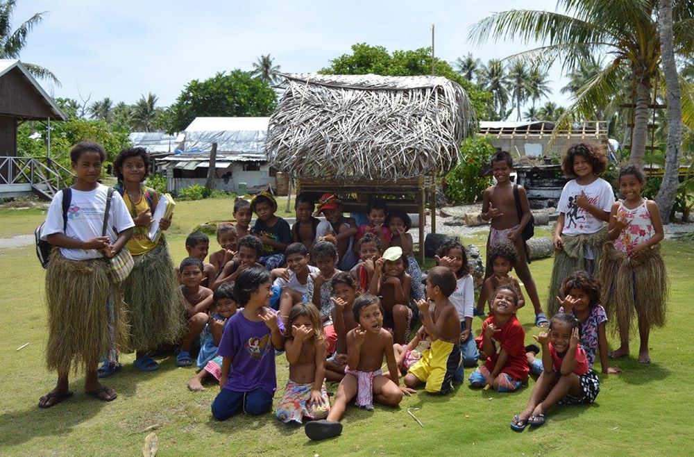 Class of school children in the Federated States of Micronesia who are being assisted by ICI.
