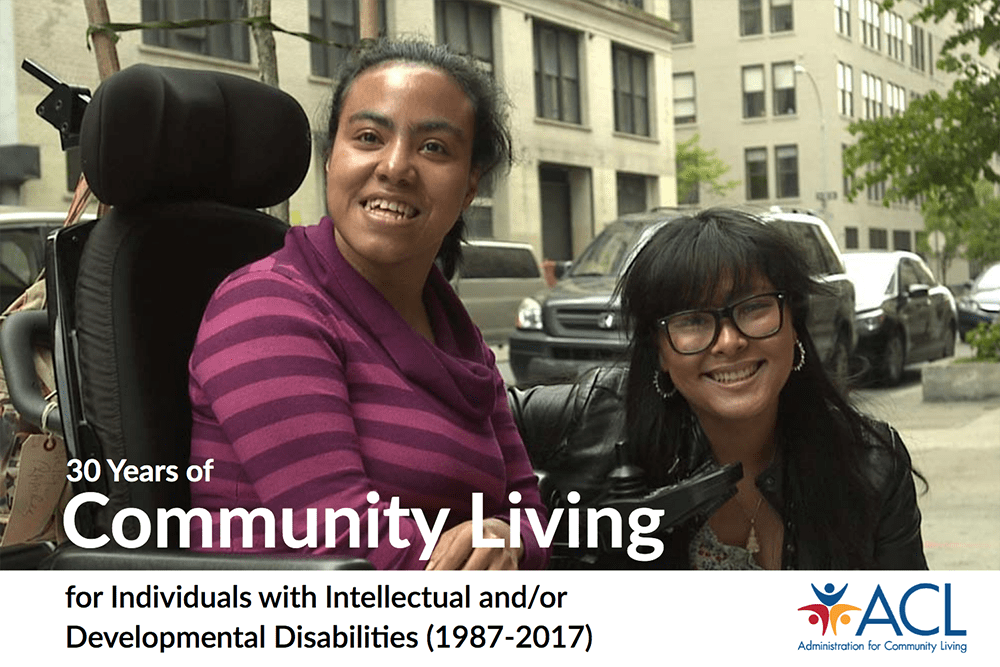 An illustration of ACL's report. Two women are smiling on a city sidewalk. One is in a wheelchair.