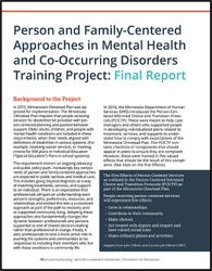 Person and Family-Centered Approaches in Mental Health and Co-Occurring Disorders Training Project: Final Report