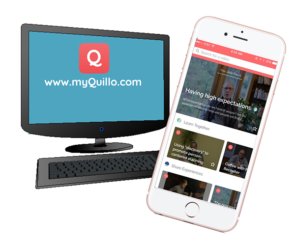 Image of a computer and a smart phone displaying the myquillo.com website