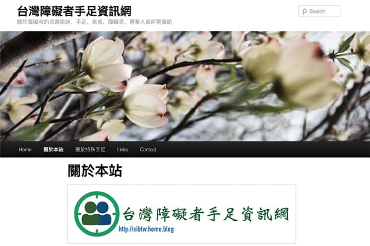 Sibling Information Network website featuring Chinese-language characters and a graphic with two heads symbolizing siblings.