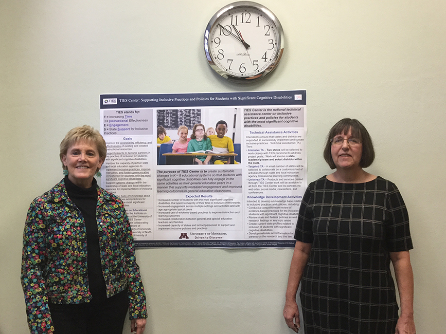 TIES Center director Sheryl Lazarus (right) with assistant director Terri Vandercook and a research poster they co-authored.