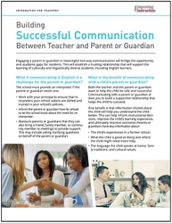 Building Successful Communication Between Teacher and Parent or Guardian: Information for Teachers