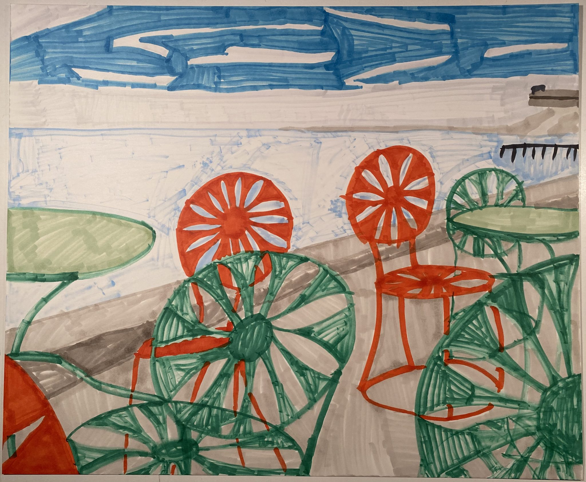 Wisconsin Union, a drawing by Devin Wildes of empty café chairs, vacated by the coronavirus pandemic.