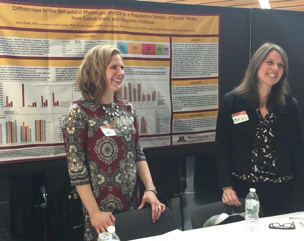 Libby Hallas and Jennifer Hall-Lande during a previous CEHD Research Day.