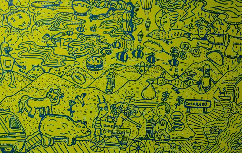 Detail of a work features a busy cartoon drawing of bees, a flying man, cupcakes, and other creatures.