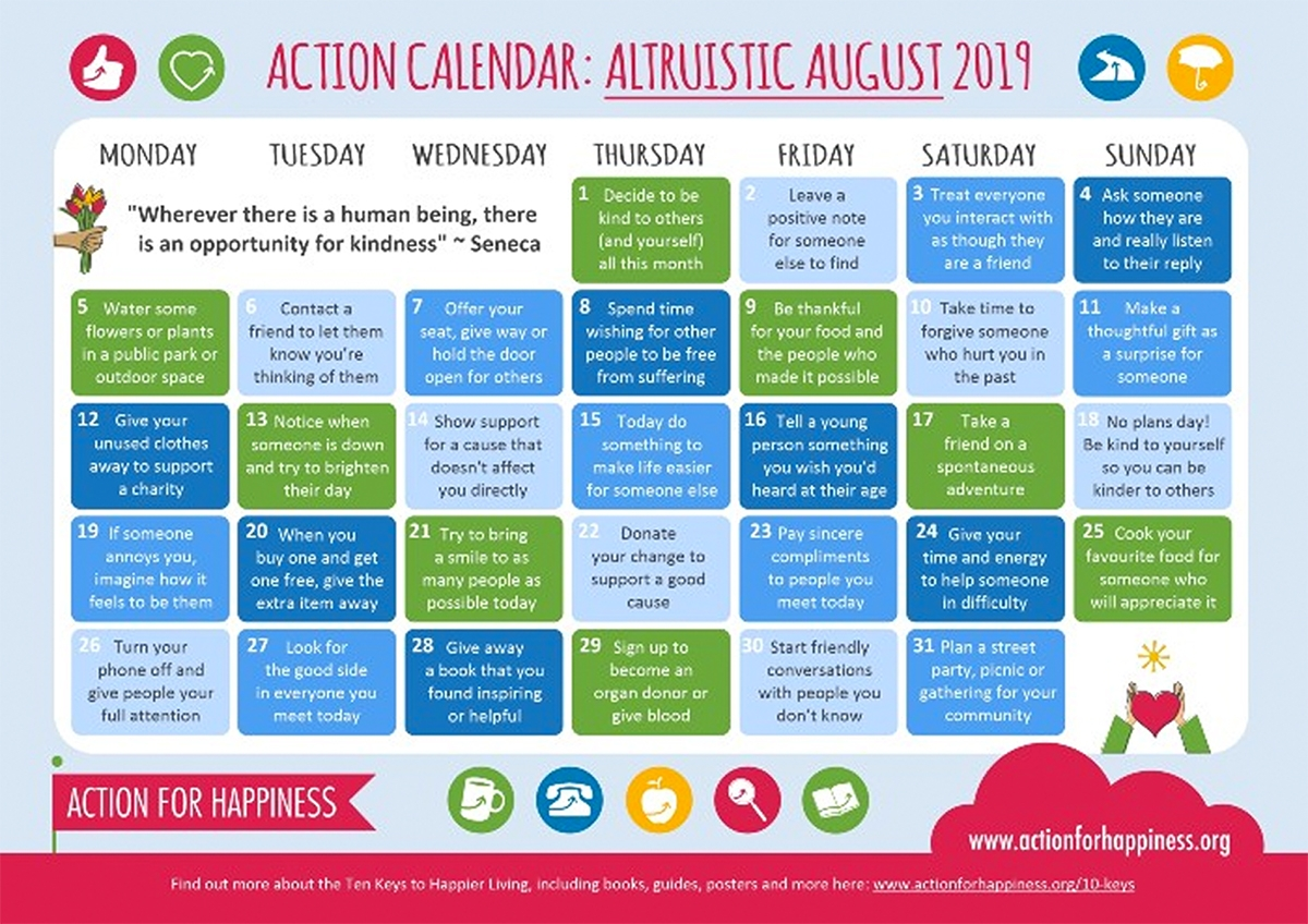 Image of a calendar for the month of August 2019. It is called Altruistic August. Each day is a multi colored box with actions listed in the box.