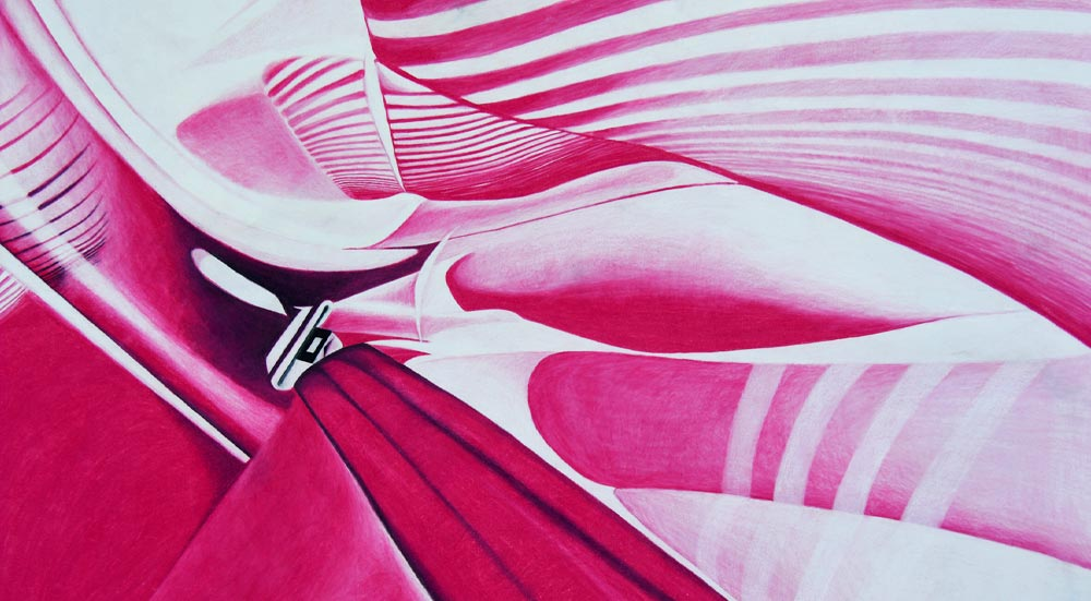 A bright pink and white abstract colored pencil drawing shows movement in this detail of a larger work.