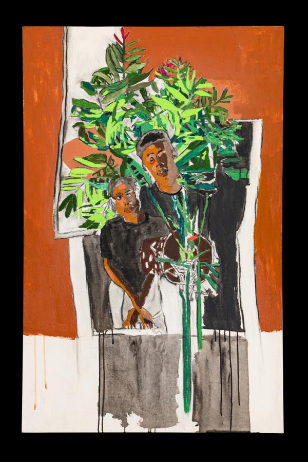 A painting of a young Black man and his mother. He is taller, she has her hands crossed. They stand in front of a leafy green plant and are bordered by an orange block of color.