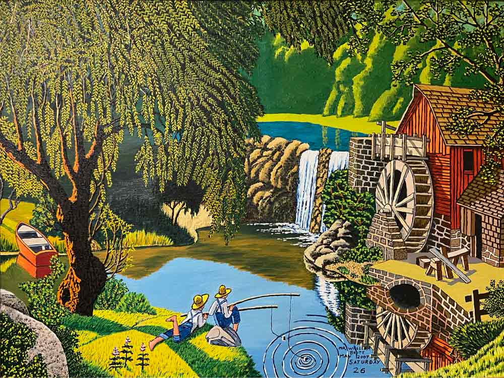 A colorful painting features two people in yellow hats and overalls fishing in a pond that is surrounded by a waterfall, a wood mill, a large tree and grasses.