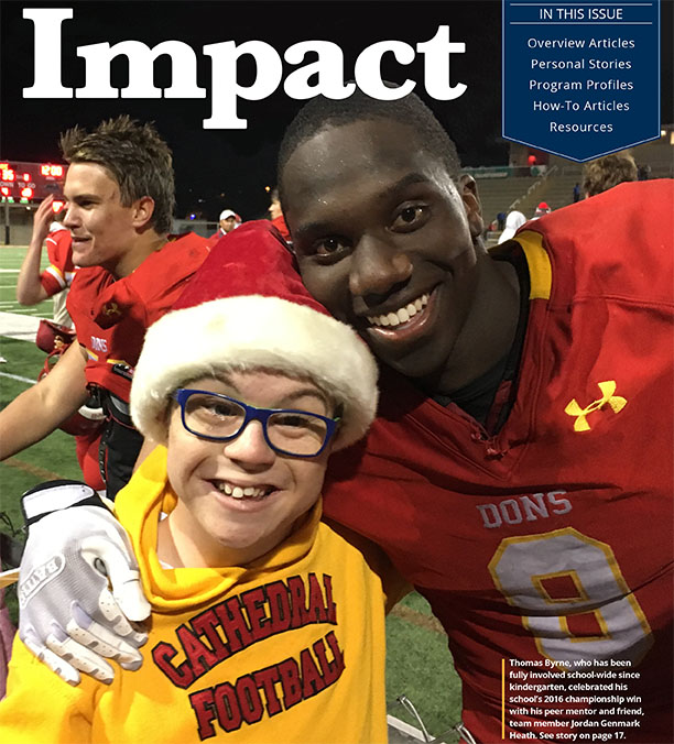 Cover image of Impact 31(2), showing a student with a disability at the football field with his friend in a football uniform. Both are smiling into the camera.