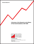 A Summary of the Research on the Effects of Test Accommodations: 2007-2008 (#56)