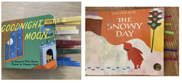 Two children's board books have had colored clothespins and tabs added to the pages for easier turning.