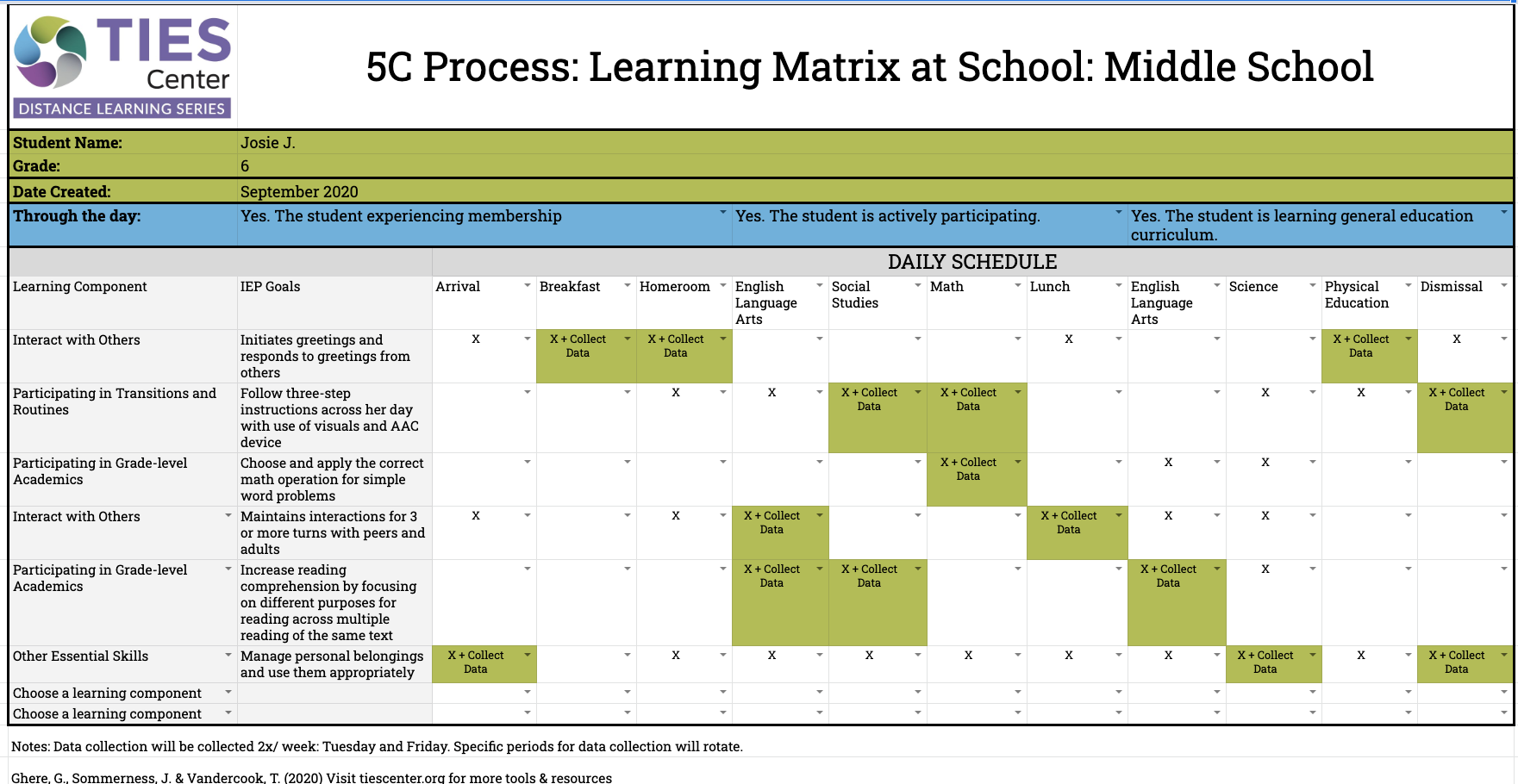 An example learning matrix that has been filled in for Josie, a 6th grade student. The matrix allows users to fill in overarching learning competencies, corresponding IEP goals, the student's daily schedule, and which goals are to be tracked.
