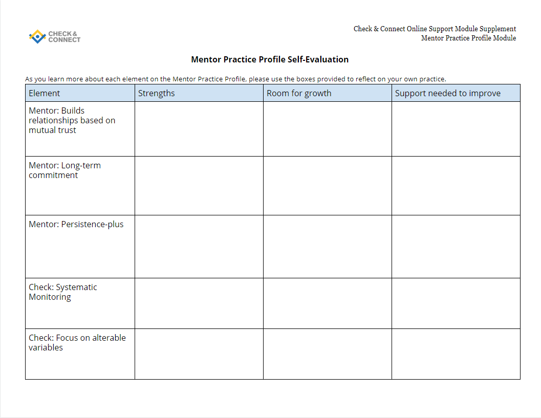 Mentor Practice Profile Self-Evaluation tool