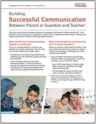 Building Successful Communication Between Parent or Guardian and Teacher: Information for Parents or Guardians