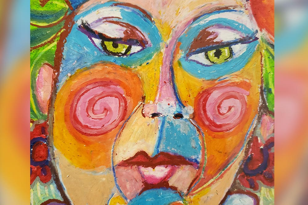 """""""Elma,"""" a brightly-colored oil painting by Morgan Brooke showing a pensive human face."""