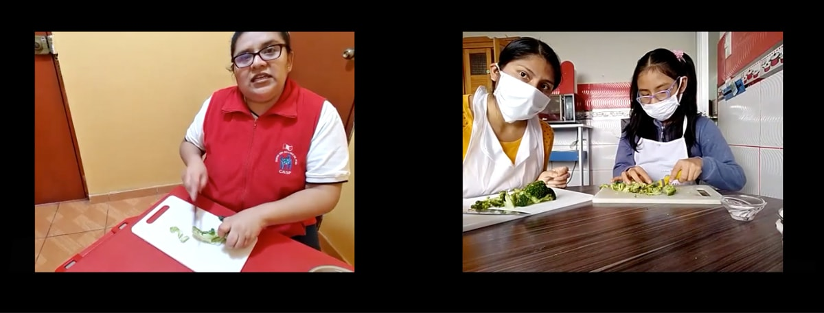 Two photo screenshots of a Zoom meeting. In one photo, a Peruvian woman with dark hair and dark glasses cuts vegetables on a white cutting board while wearing a red vest with a white shirt underneath. The other photo shows a mom and her daughter, both wearing masks, and also cutting vegetables. The mother and daughter have black hair and the daughter wears glasses.