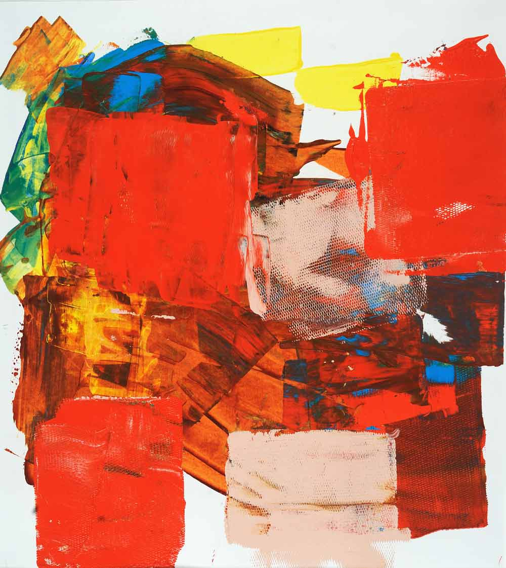 An abstract painting with red and blush tones, mixed with some yellow and blue.