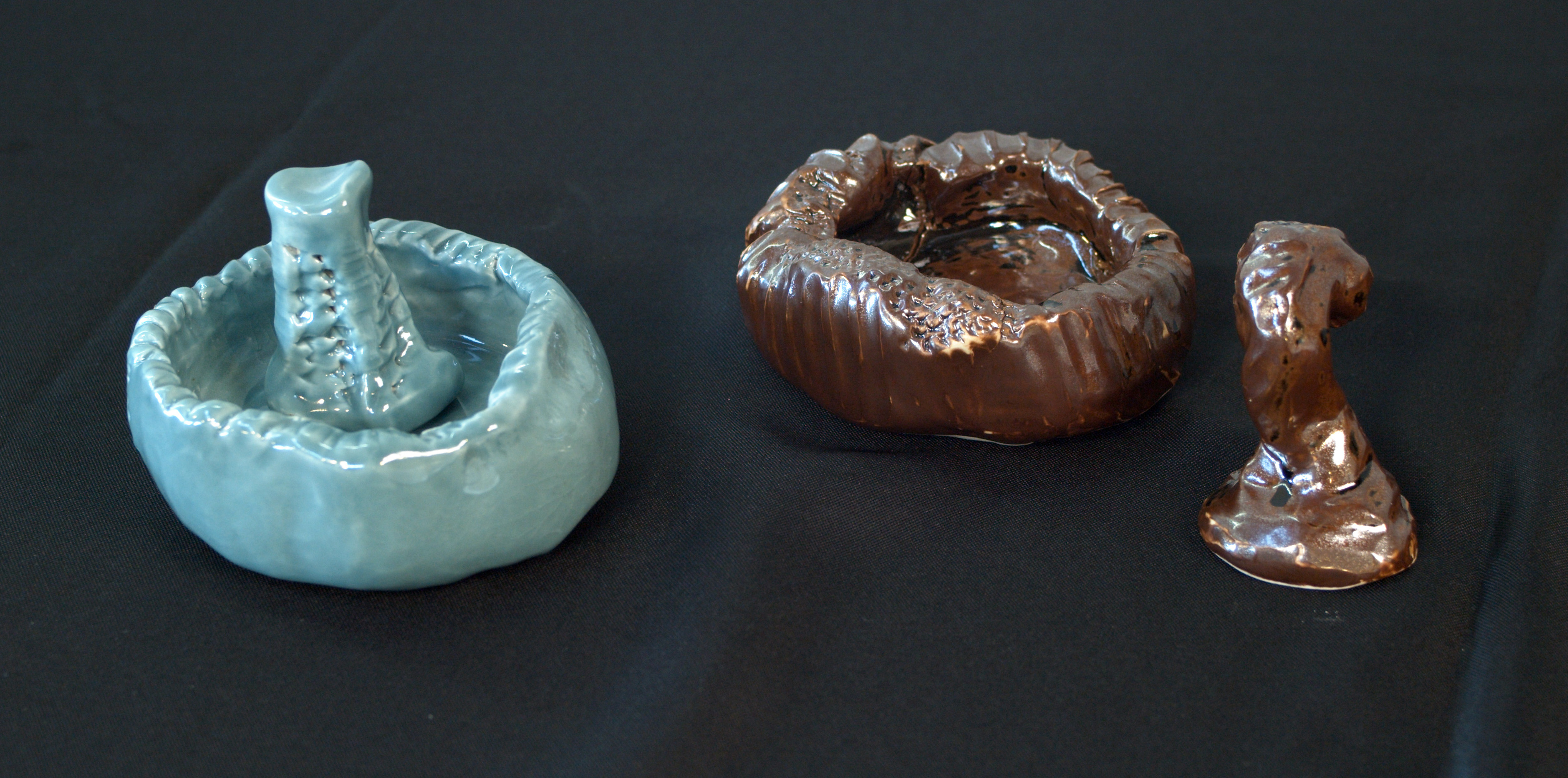 Blue and brown glazed oblong and round mortar and pestle sets