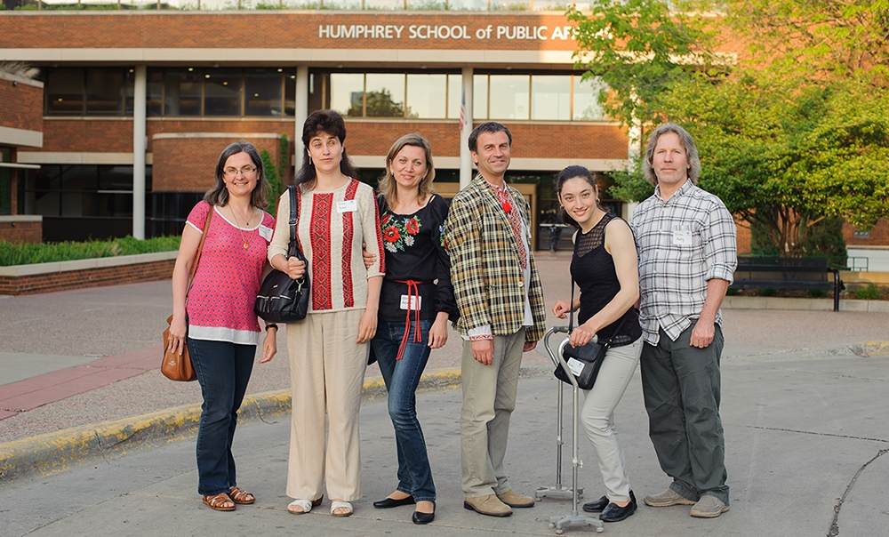 Several of the ADA Fellows from Ukraine at the University of Minnesota in 2017 with ICI's Renáta Tichá and Brian Abery.