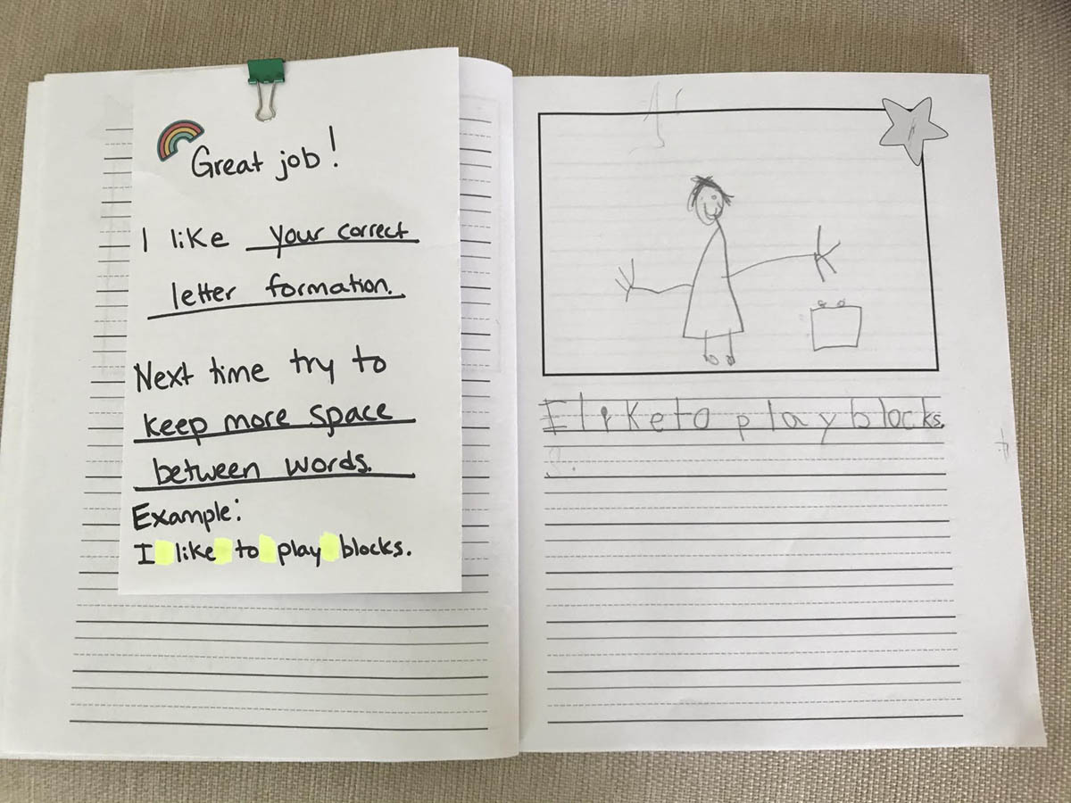 Student work that shows a student who is trying to write complete sentences. Teacher feedback is on the left. It says: Great job! I like your correct letter formation. Next time try to keep more spaces between words. The teacher shows an example of more space between words by highlighting spaces in yellow between words.