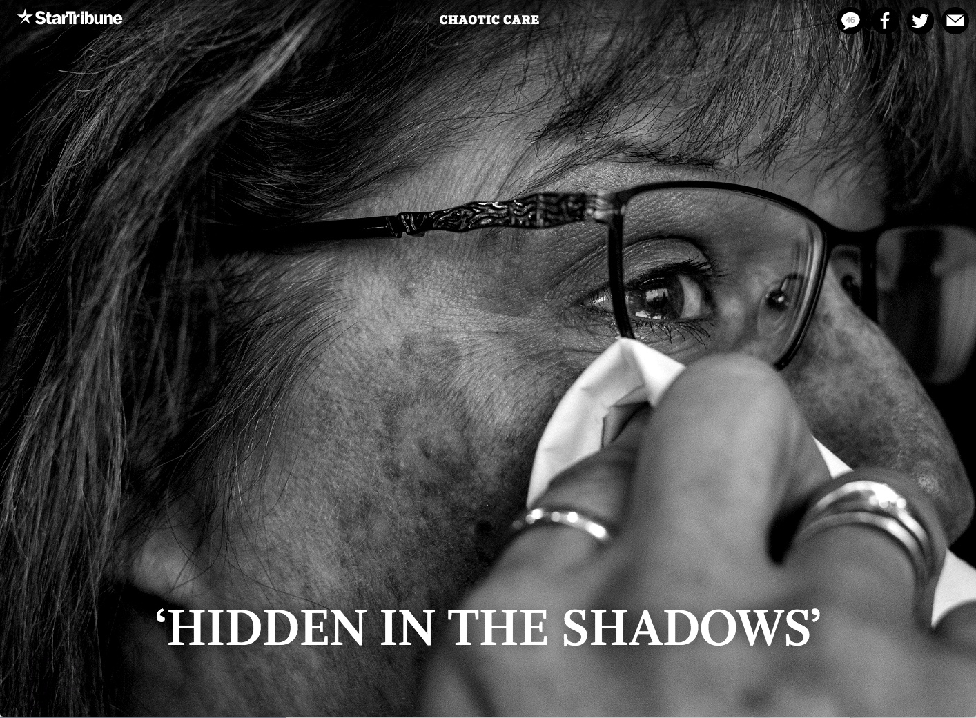 """""""Hidden in the Shadows"""" Close up of a woman wearing glasses and wiping tears away."""