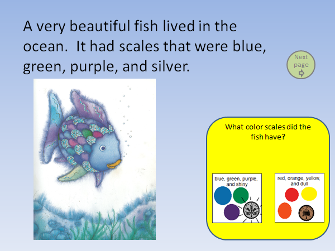 A page of digital text with illustrations. A colored box containing a comprehension question has been added to the page.