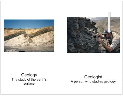 Defining geologist versus geology. Geology is the study of the Earth's surface. A Geologist is a person who studies geology.