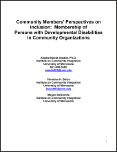 Community Members' Perspectives on Inclusion: Membership of Persons with Developmental Disabilities in Community Organizations