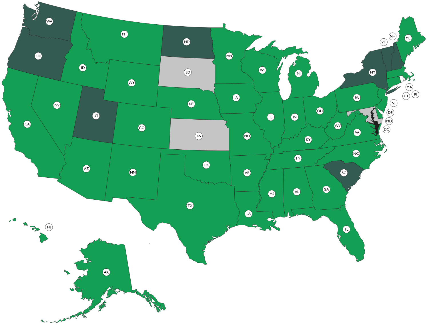 Map of the United States showing the sources of information on Medicare waivers.