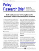 Costs and Outcomes of Community Services for Persons with Intellectual and Developmental Disabilities