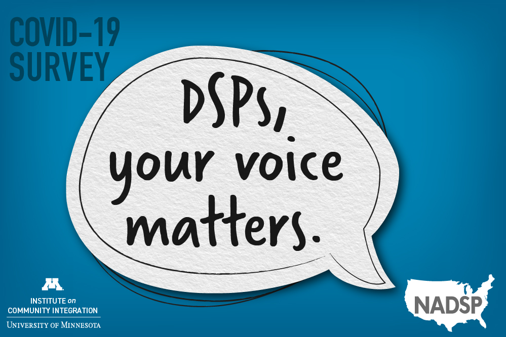 """Survey graphics that reads, """"DSPs, your voice matters."""" It shows the logos of ICI and NADSP."""